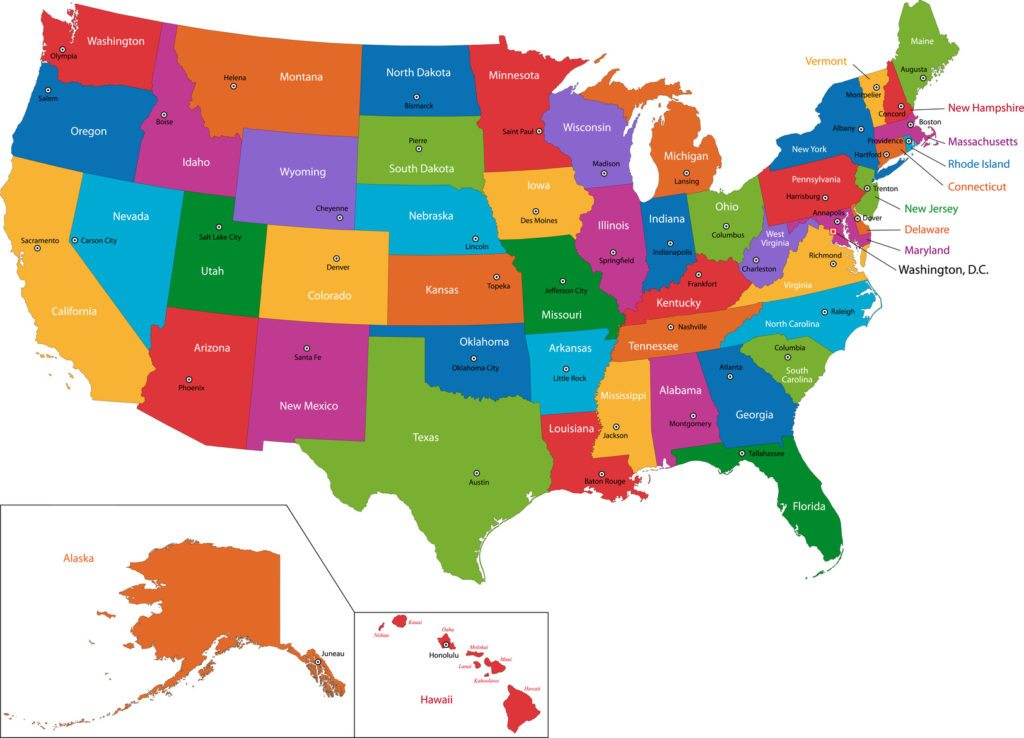 Colorful USA map with states and capital cities - Foundation Group®