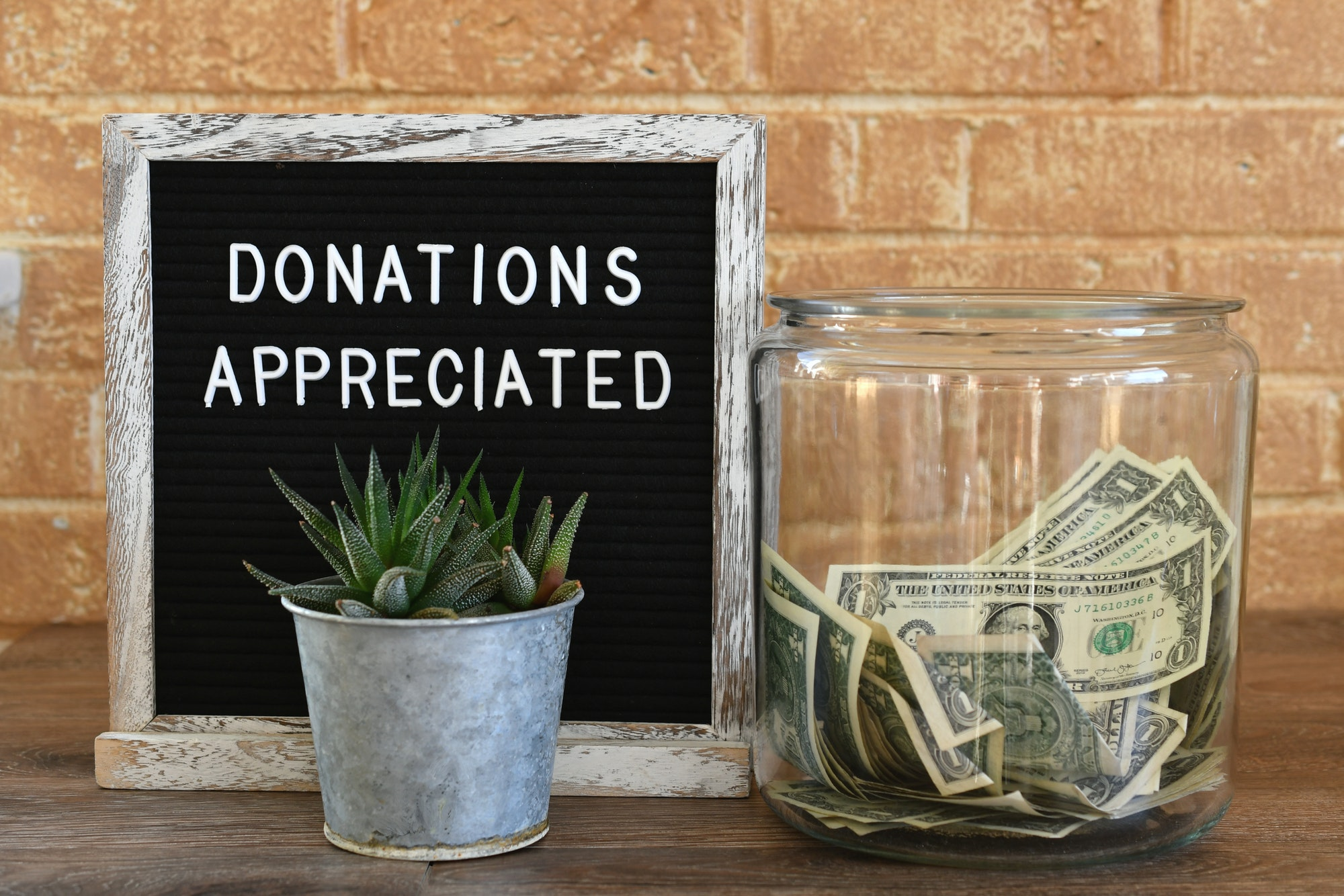 Jar Of Money Cash Donations Appreciated Sign Message Board, Contributions, Tips, Collection